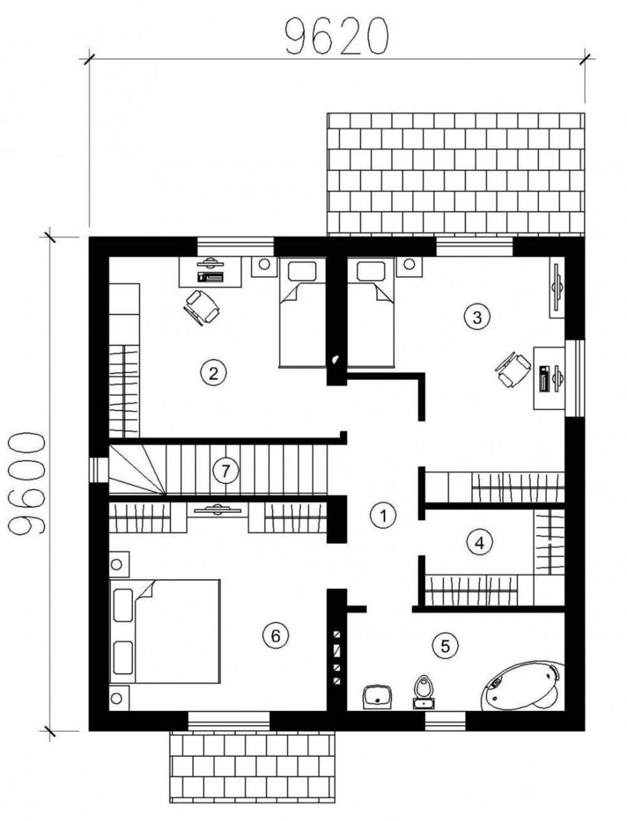 Contemporary House Floor Plan Office Room Small Bath Three Rooms...