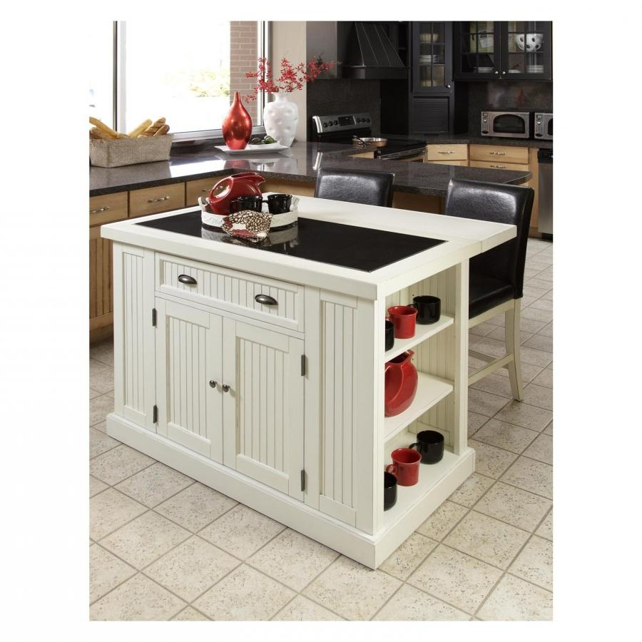 Home Styles Nantucket Kitchen Island with Two Stools - Distressed...