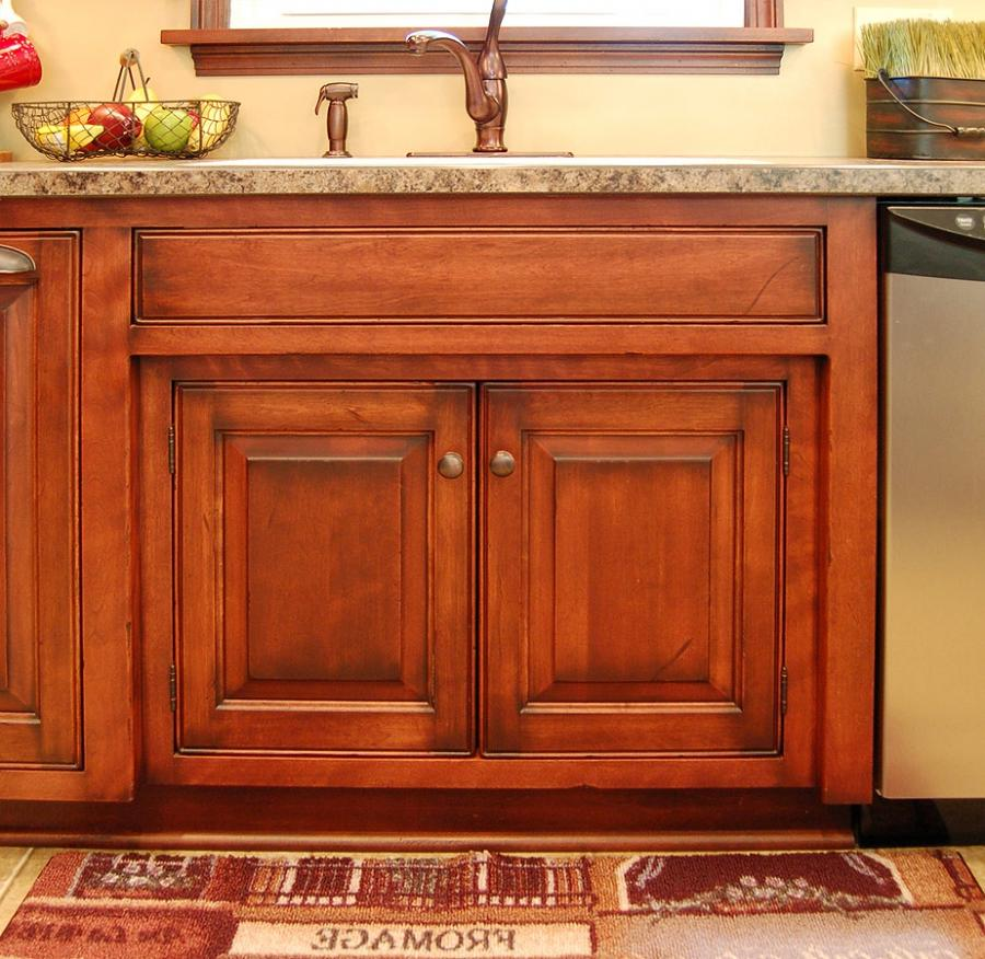 Distressed Kitchen Cabinets Recessed Sink 001