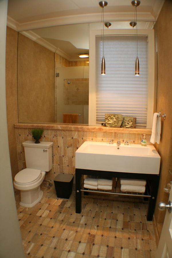 ... Gold Brown Wall Tiles in Small Bathroom Designs ...