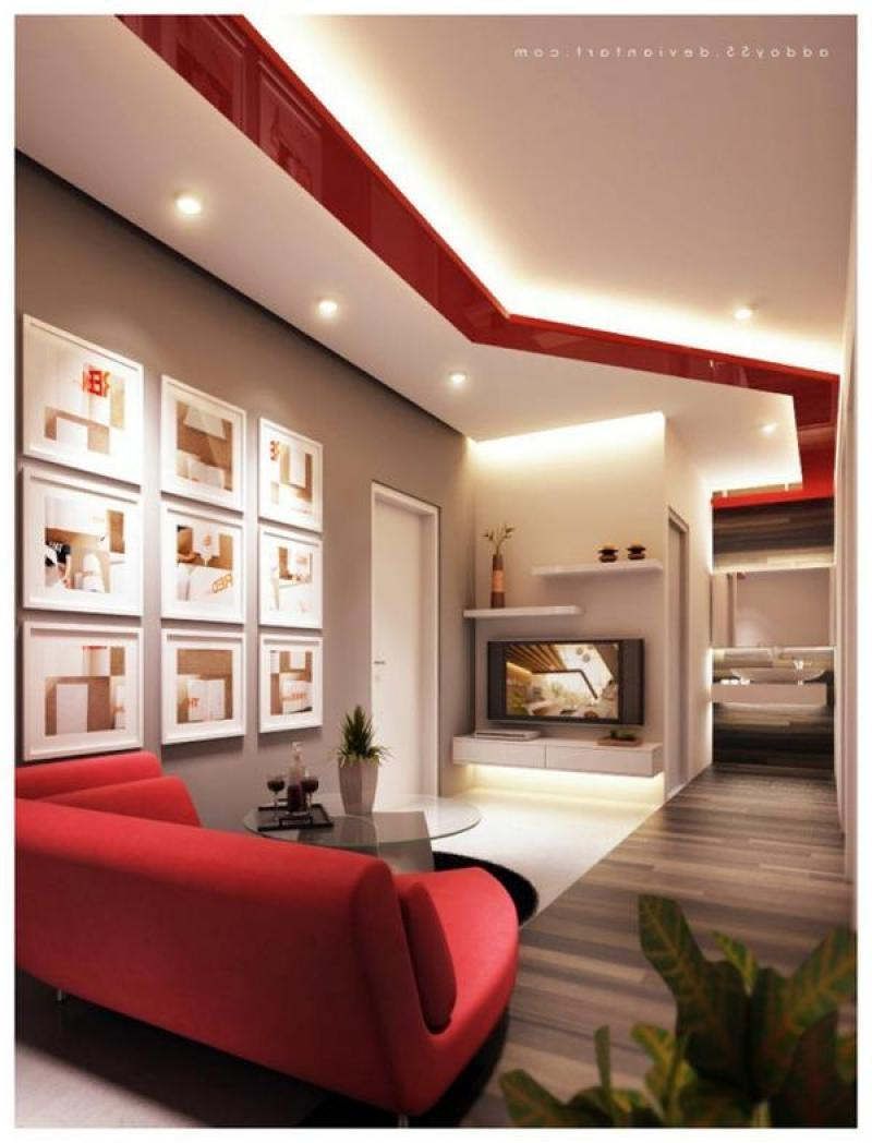 Modern living room design ideas with red and white color schemes...