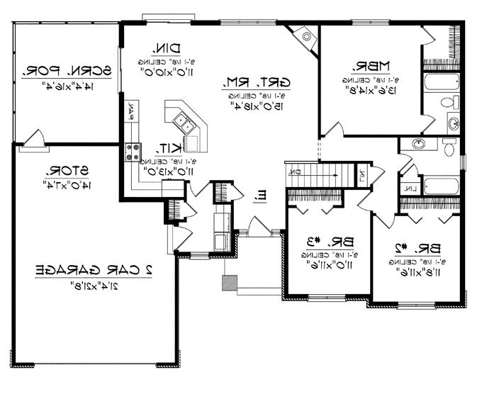 Open concept house plans one story house plans with split master and open concept floorplan - Open concept home designs ...