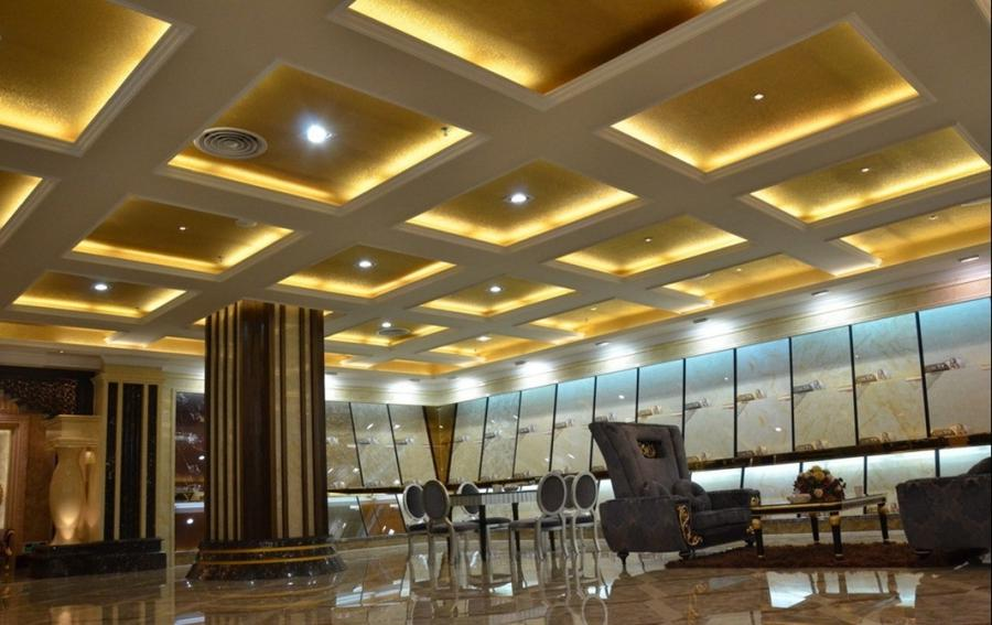 Hotel lobby lighting and ceiling design