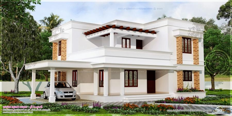 Flat roof white color house
