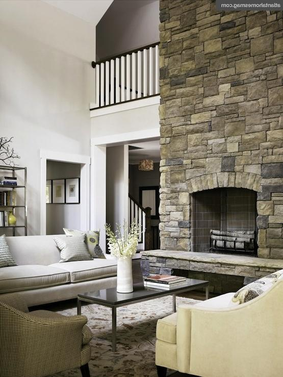 Two story fireplace photo for Interior design 77379