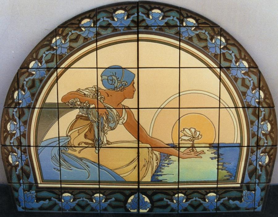 Art mural photo picture tile for Art nouveau tile mural