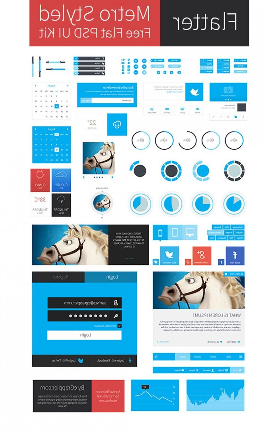 Metro Style Free Flat User Interface Kit PSD