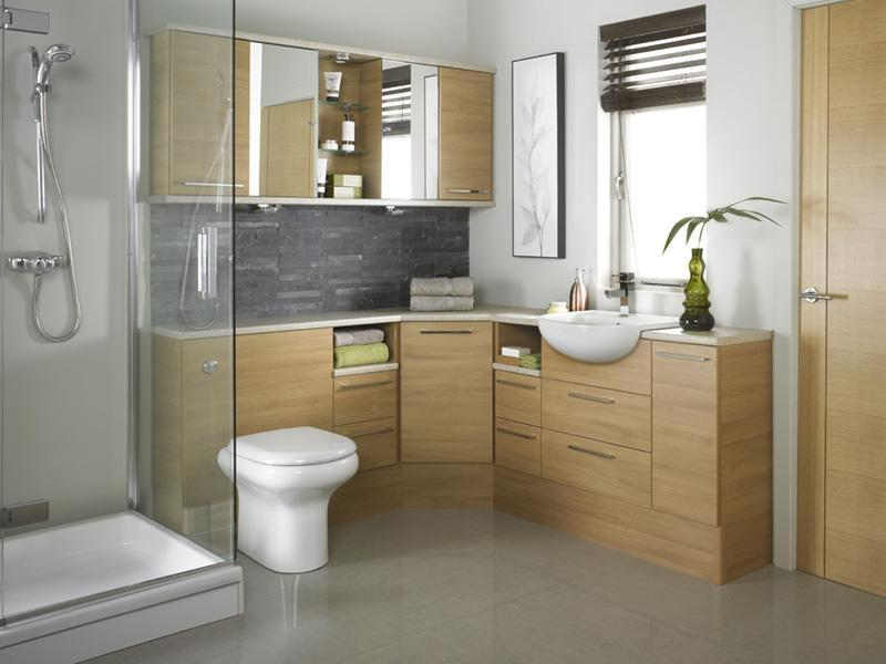 Bathroom, Fascinating Oak Bathroom Design With Neat Wooden...