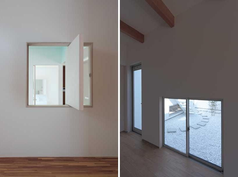 (left) windows provide glimpses of a courtyard from the interior...