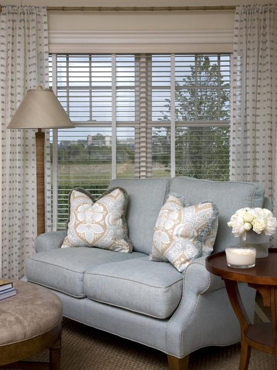 Living room window treatment photos for Modern living room window treatments
