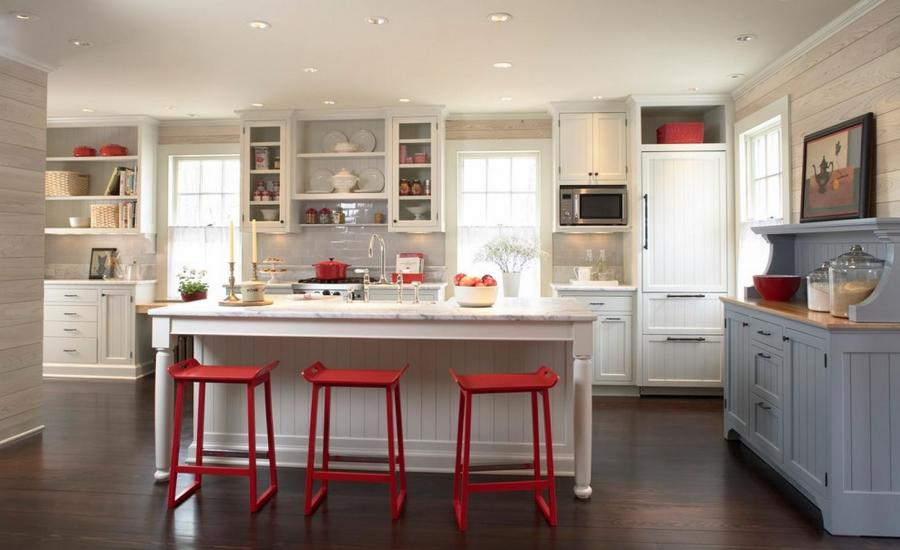 Red and blue kitchen photos for Red white and blue kitchen ideas
