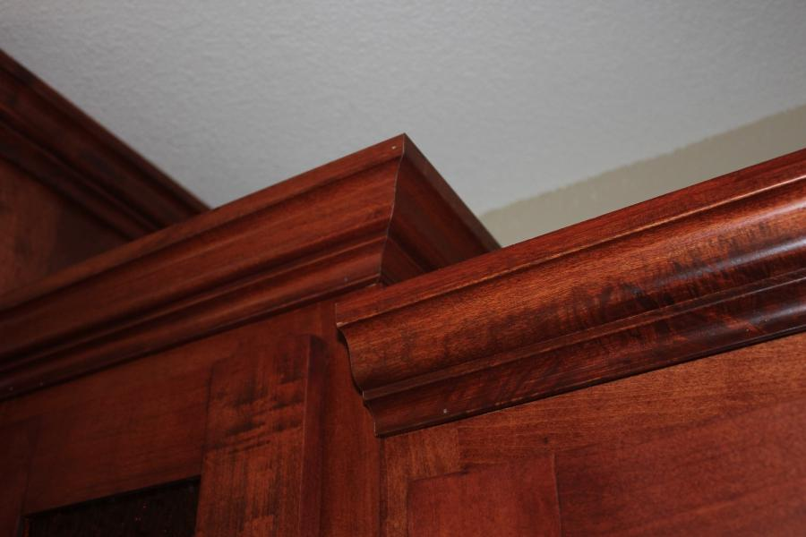 Oak cabinet crown molding walnut stained oak 2 door for Oak crown molding for kitchen cabinets