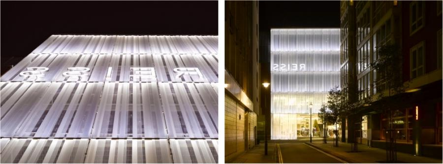 A great example is the facade of the Reiss HQ building in London...