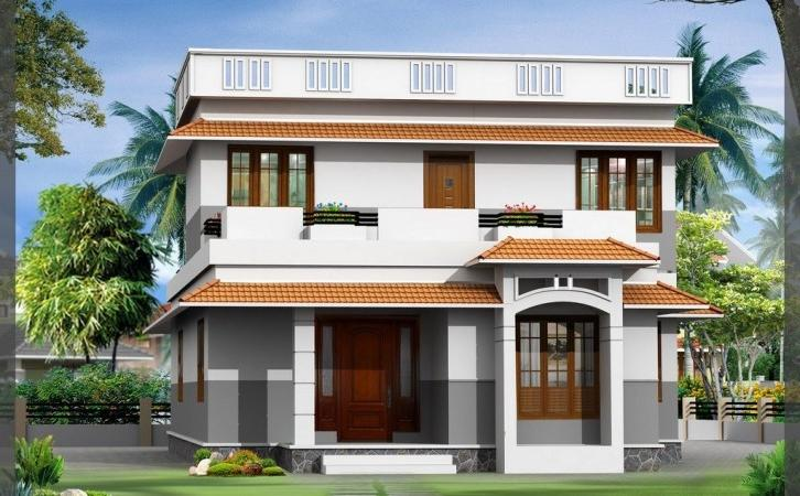 Front Elevation Duplex Houses Kerala : Front design of duplex house in indian style joy studio