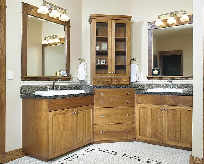 Natural Pine Cabinets lend to a rustic feel. Bathroom cabinets