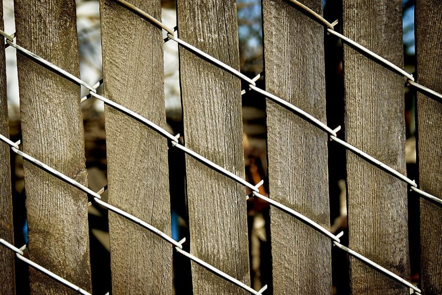 Chain fence with slats -- patterns that mesmerize me.