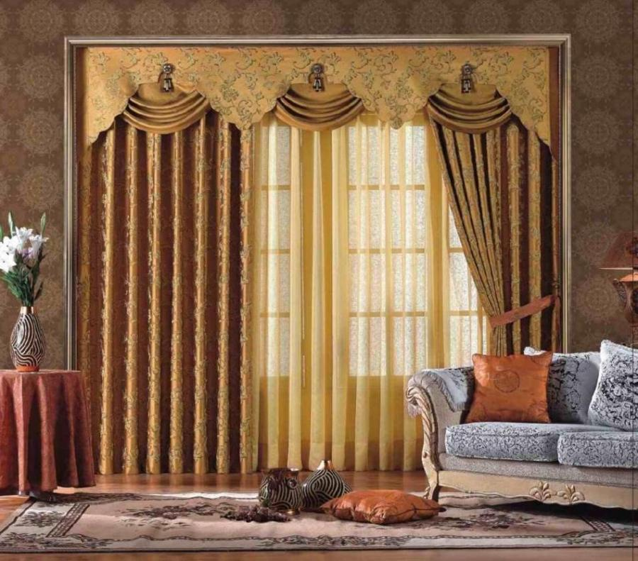 living room, Royal Curtain Design With Luxury Interior Asian...