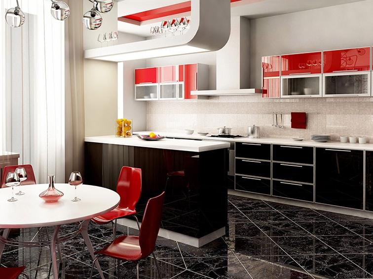 Red Black and White Kitchen Design