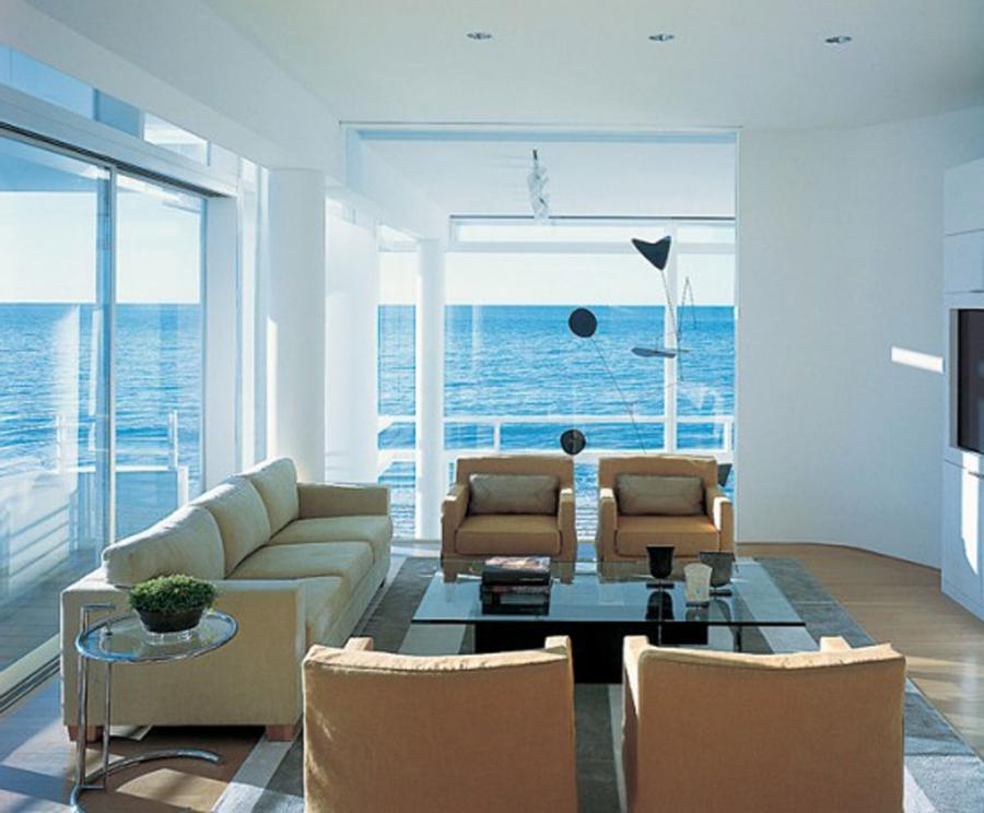 Photos beach living rooms for Modern beach house furniture