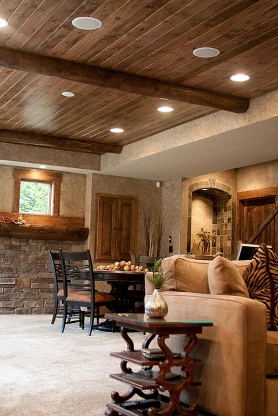 Retrieve living room rustic interior style with recessed lighting...