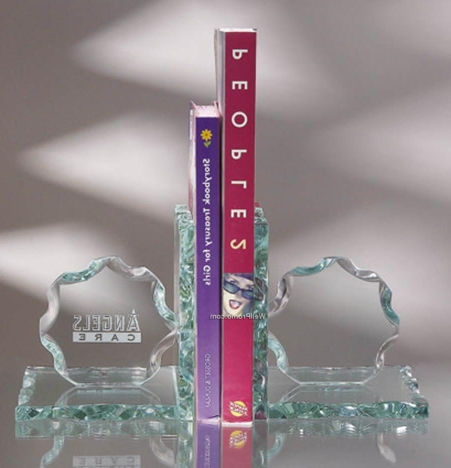 Rope Edge Jade Glass Book Ends