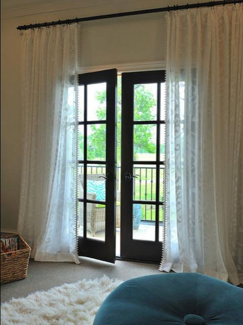 French Doors With Curtains