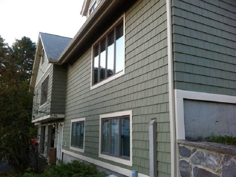 Cedar vinyl siding photos for Siding that looks like wood shingles