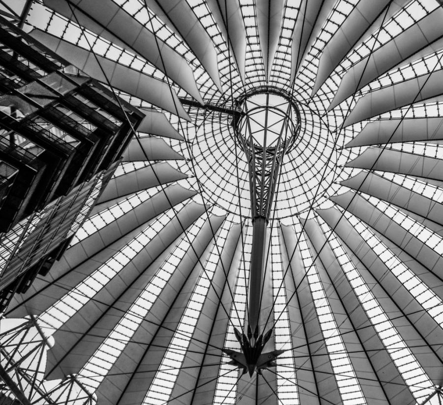 Sony Center Ceiling in Berlin. Point and Shoot Photography: Black...