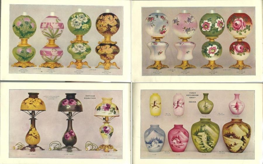 Some Fostoria oil and electric lamps and hand-decorated vases,...