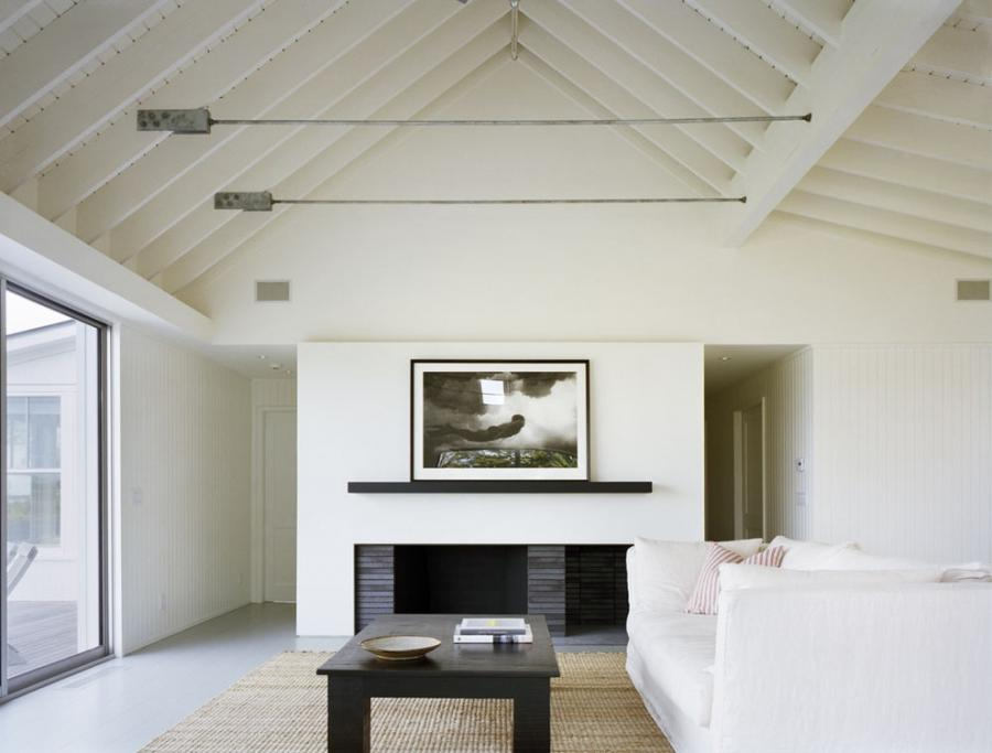 fantastic Off White Living Room Beach design ideas with Barn...