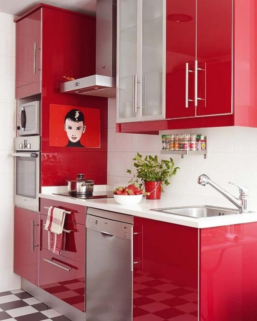 Kitchen Simple Red Kitchen Design With Black And White Floor