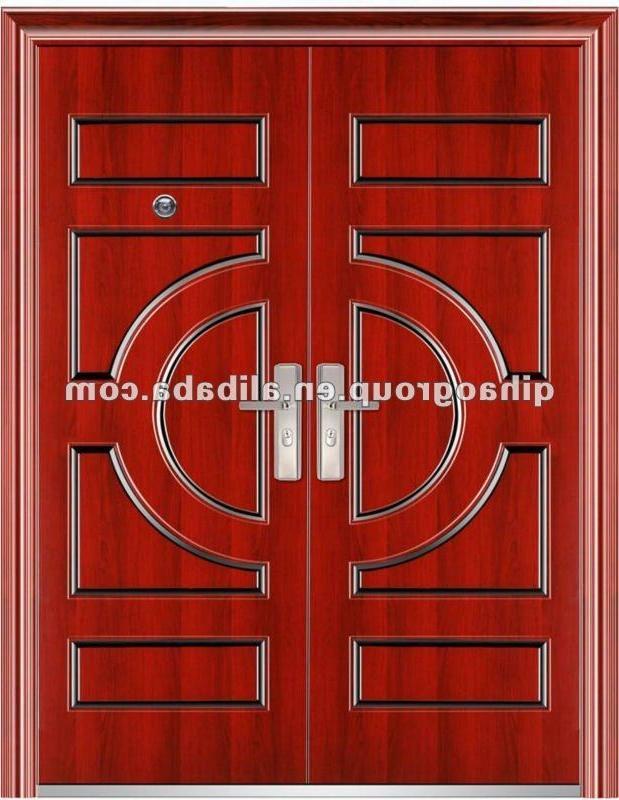 Front door design photos kerala houses for Main double door design