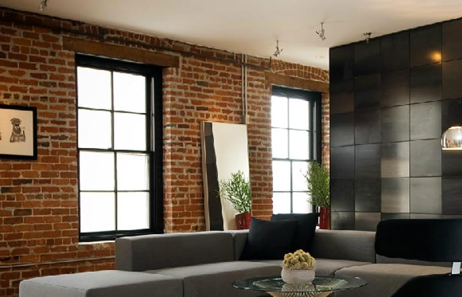 Contemporary and Sophisticated Brick Walls Design of Bachelor Pad...