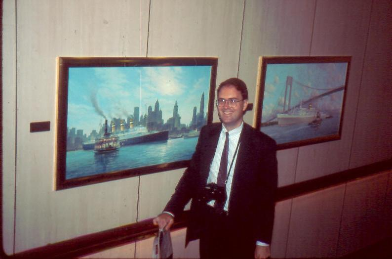 WSS member David Powers is flanked by two Stephen Card paintings...