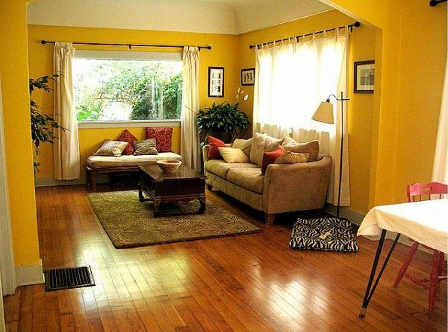 Yellow living room photos for Yellow brown living room ideas