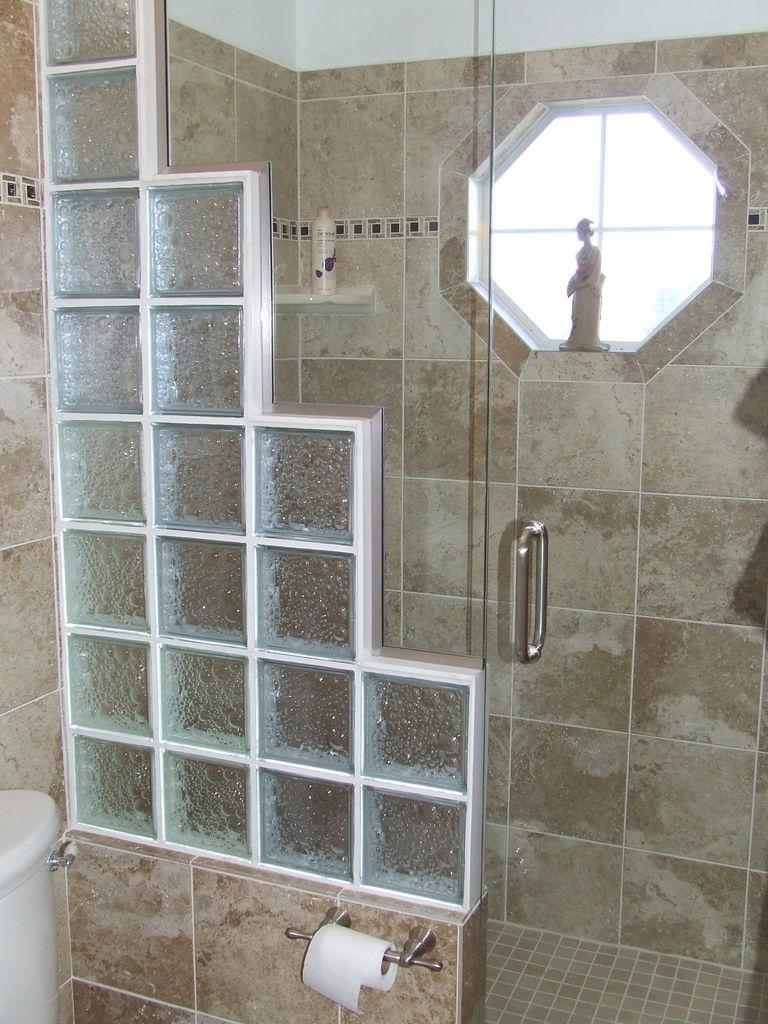 Photos of glass block showers for Glass block options