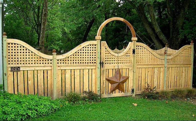 Arched Square Lattice With Semi Private Wood Fence