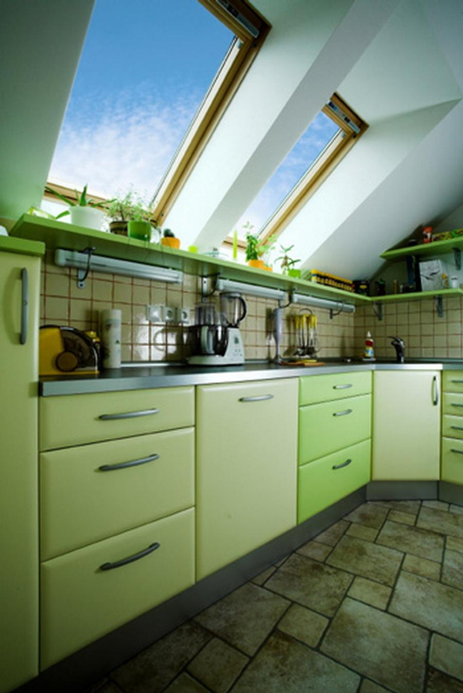 Smart Green Kitchen Design in Attic Idea