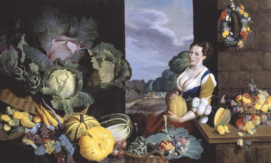 License this image. Sir Nathaniel Bacon Cookmaid with Still Life...
