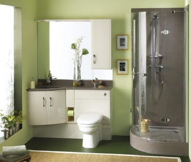 Green Bathroom Remodeling Ideas With White Toilet And Simple...