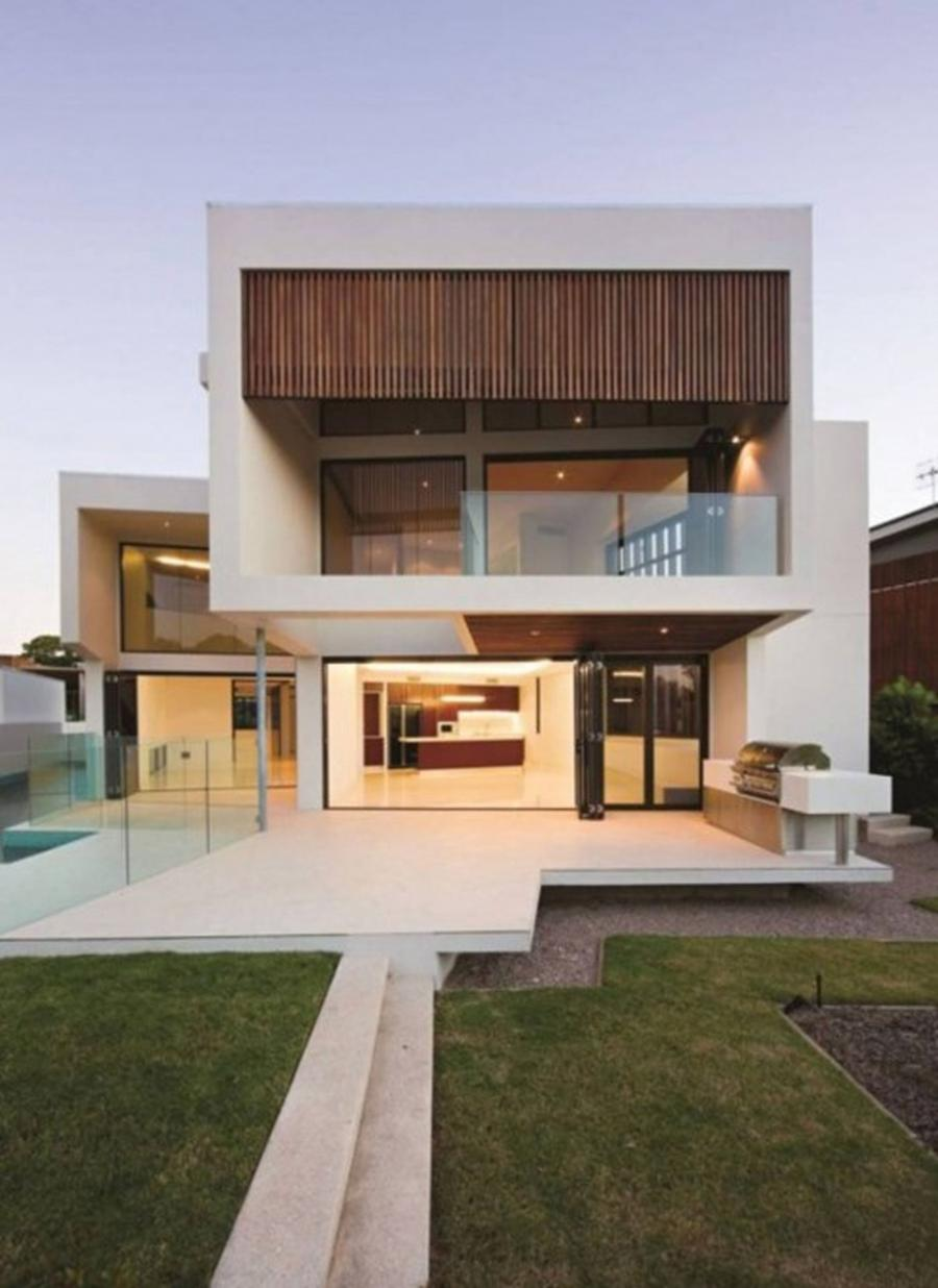 White Ultra Modern House Plans Large Open Terrace Gorgeous House...