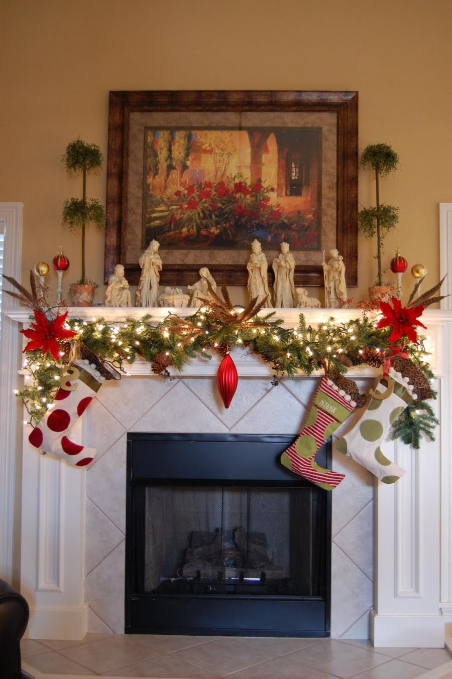 Exceptional Christmas White Fireplace Mantel Decorating from...