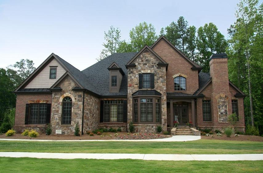 Brick and stone house photos for Brick stone combinations