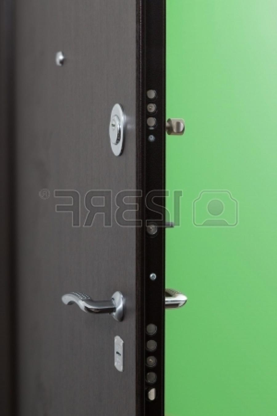 Front metal door with a powerful lock in new apartment