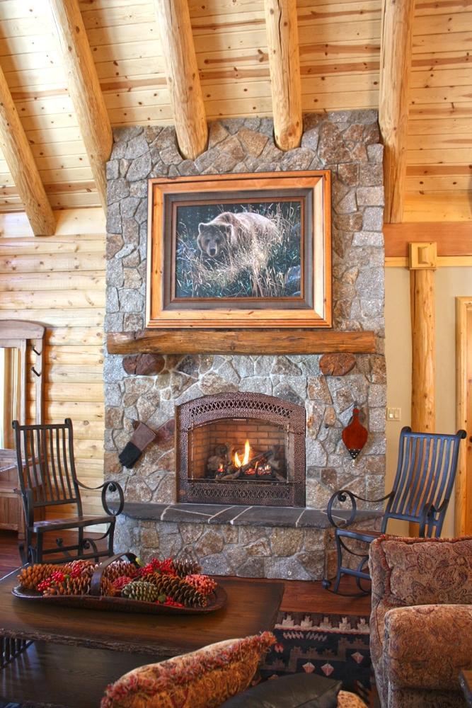 Log home fireplace photos for Log home fireplaces