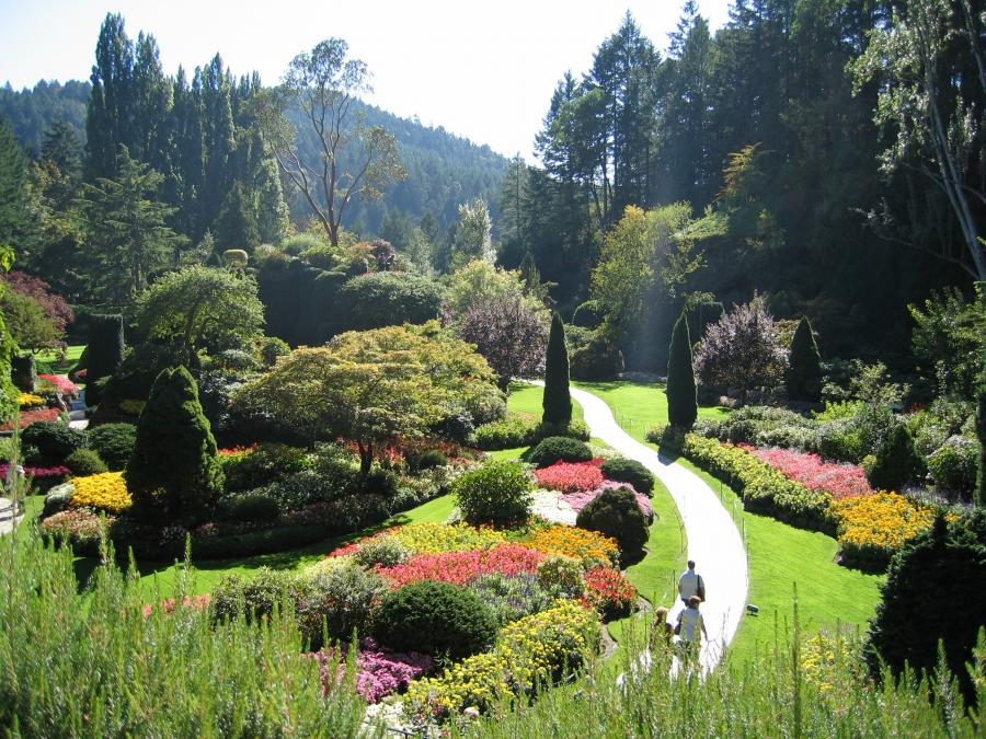 The Sunken Garden of Butchart Gardens, Victoria, British...