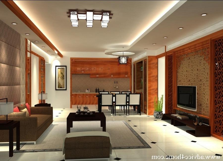 white false pop ceiling design and brown sofa set design in...