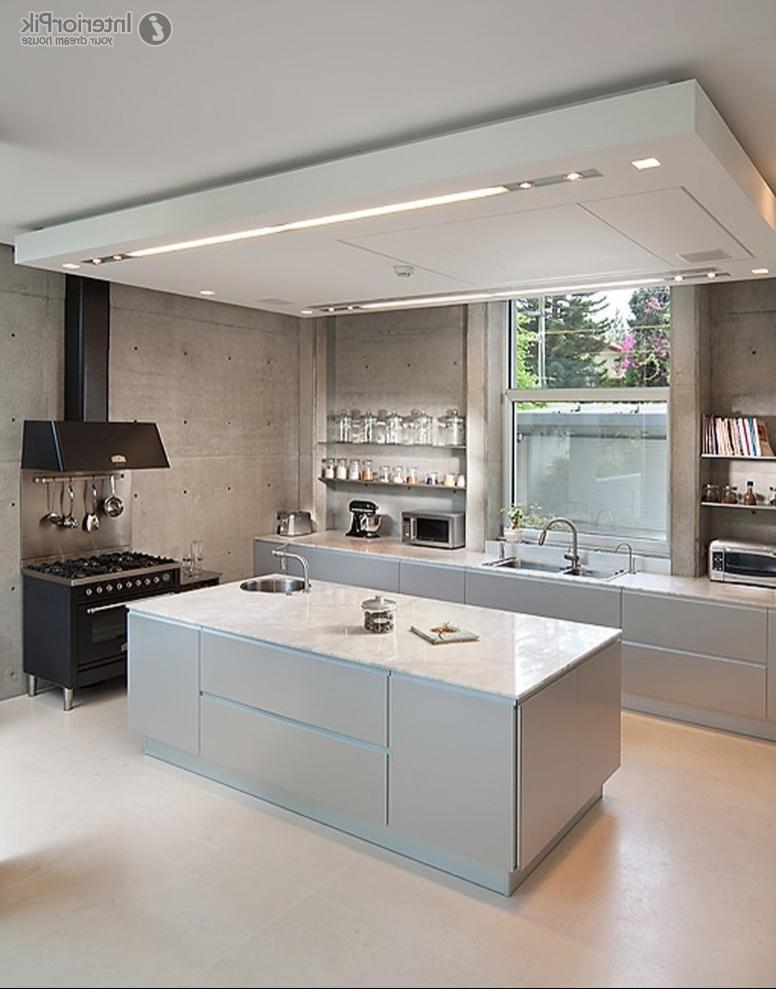 Simple style open kitchen ceiling decoration effect. Minimalist...