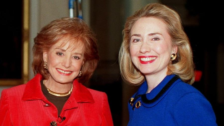 PHOTO: Barbara Walters, right, is pictured with Hillary Clinton,...