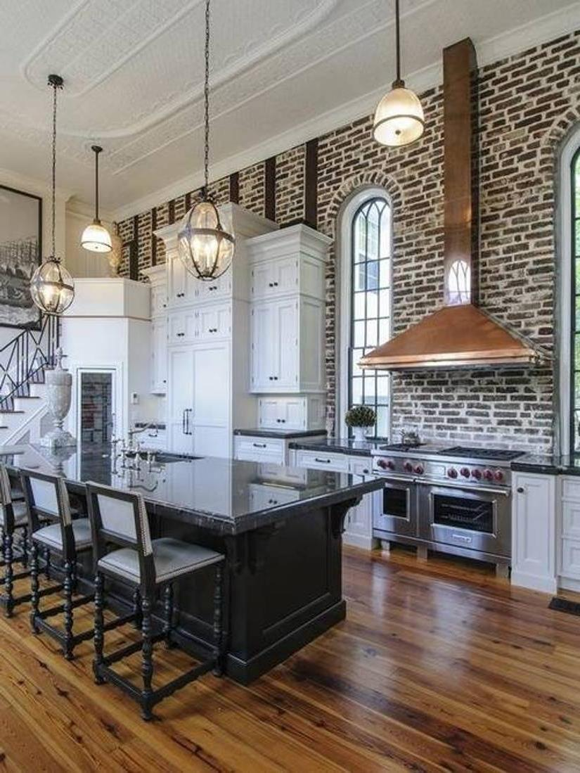 Exposed Wall Brick And Open Kitchen Floor Plans For Kitchen...